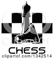 Clipart Of A Black And White Chess Queen Over A Fallen Pawn Text And A Board Royalty Free Vector Illustration