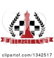 Clipart Of A Red Chess Queen Over A Board And Blank Red Banner With A Wreath Royalty Free Vector Illustration