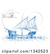 Clipart Of Sketched Blue And Gray Sailing Ships Royalty Free Vector Illustration