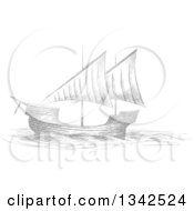 Clipart Of A Sketched Gray Sailing Ship Royalty Free Vector Illustration