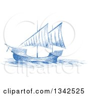 Clipart Of A Sketched Blue Sailing Ship Royalty Free Vector Illustration