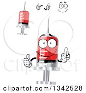 Clipart Of A Cartoon Face Hands And Blood Syringes Royalty Free Vector Illustration