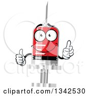 Clipart Of A Cartoon Blood Syringe Character Royalty Free Vector Illustration