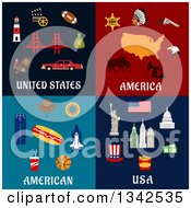 Clipart Of American Travel And Food Designs Royalty Free Vector Illustration