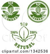 Clipart Of Green Bio Natural Designs With Leaves Royalty Free Vector Illustration
