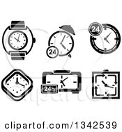 Clipart Of Black And White Watches Clocks And Timers Royalty Free Vector Illustration