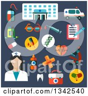 Clipart Of A Flat Design Female Nurse And Hospital Icons On Blue Royalty Free Vector Illustration