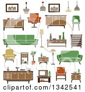 Clipart Of Retro Household Furniture 8 Royalty Free Vector Illustration