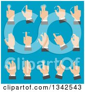 Clipart Of Flat Design White Business Mans Hands With Multitouch Gestures For Tablet Or Smartphone Over Blue Royalty Free Vector Illustration