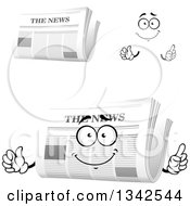 Clipart Of A Cartoon Face Hands And Newspapers 6 Royalty Free Vector Illustration