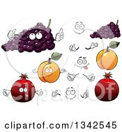 Clipart Of Cartoon Faces Hands Purple Grapes Apricots And Pomegranates Royalty Free Vector Illustration
