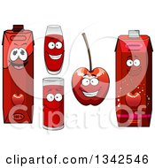 Clipart Of Happy Cherry Character Cups And Juice Cartons 2 Royalty Free Vector Illustration