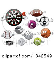 Clipart Of Cartoon Sports Balls Darts And A Dartboard Characters Royalty Free Vector Illustration