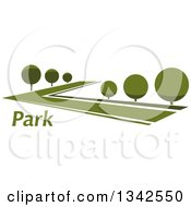 Clipart Of A Lush Green Park With Rounded Trees And Text Royalty Free Vector Illustration