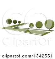Clipart Of A Lush Green Park With Rounded Trees Royalty Free Vector Illustration by Seamartini Graphics