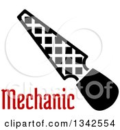 Clipart Of A Black And White Rasp File Tool Over Red Mechanic Tex Royalty Free Vector Illustration by Vector Tradition SM