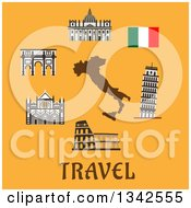 Clipart Of Italy Travel Items Over Text On Yellow Royalty Free Vector Illustration by Vector Tradition SM