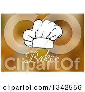 Clipart Of A Black And White Chef Toque Hat Over Baker Text And Blur Royalty Free Vector Illustration by Vector Tradition SM