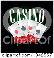 Clipart Of Casino Text Playing Cards And Red Dice On Black Royalty Free Vector Illustration