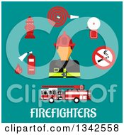Clipart Of A Flat Design Fireman Avatar And Tools Over Text On Turquoise Royalty Free Vector Illustration