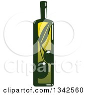 Clipart Of A Green Bottle Of Olive Oil Royalty Free Vector Illustration