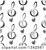 Clipart Of A Seamless Background Pattern Of Black And White Music Notes 2 Royalty Free Vector Illustration