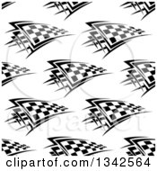 Clipart Of A Seamless Background Pattern Of Black And White Checkered Racing Flags 2 Royalty Free Vector Illustration