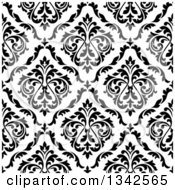 Clipart Of A Seamless Pattern Background Of Vintage Damask In Black On White 4 Royalty Free Vector Illustration by Vector Tradition SM