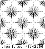 Clipart Of A Seamless Pattern Background Of Black And White Compasses 7 Royalty Free Vector Illustration by Vector Tradition SM