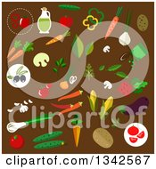 Clipart Of Flat Design Vegetables On Brown Royalty Free Vector Illustration by Vector Tradition SM