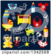 Clipart Of Flat Design Baby Toys Over Navy Blue Royalty Free Vector Illustration by Seamartini Graphics