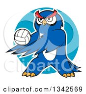 Cartoon White Outlined Blue Owl Playing Volleyball Over A Circle