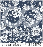Seamless Pattern Of White Roses On Blue 4