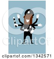 Clipart Of A Flat Design Black Police Officer Directing Traffic Over Blue Royalty Free Vector Illustration by Vector Tradition SM