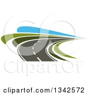 Clipart Of A Curving Two Lane Road With Green Grass And Blue Sky Royalty Free Vector Illustration by Vector Tradition SM