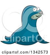 Clipart Of A Cartoon Happy Blue Seal Royalty Free Vector Illustration