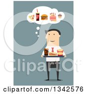 Clipart Of A Flat Design White Businessman Carrying A Tray Of Food And Thinking Of Other Cravings Over Blue Royalty Free Vector Illustration