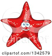 Clipart Of A Cartoon Happy Red Starfish Character Royalty Free Vector Illustration