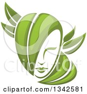 Clipart Of A Womans Face With Green Leaf Hair 2 Royalty Free Vector Illustration by Vector Tradition SM