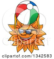 Clipart Of A Cartoon Happy Sun Character Playing With A Beach Ball Royalty Free Vector Illustration
