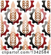 Clipart Of A Seamless Background Pattern Of Gradient Wheat And Gears 3 Royalty Free Vector Illustration