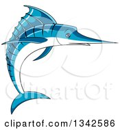 Clipart Of A Cartoon Blue Marlin Fish Royalty Free Vector Illustration