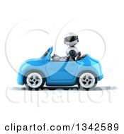 Clipart Of A 3d White And Blue Robot Driving A Blue Convertible Car To The Left Royalty Free Illustration