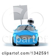 Clipart Of A 3d White And Blue Robot Holding A Blank Sign And Driving A Blue Convertible Car Royalty Free Illustration