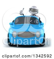 Clipart Of A 3d White And Blue Robot Giving A Thumb Up And Driving A Blue Convertible Car Royalty Free Illustration