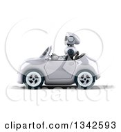 Clipart Of A 3d White And Blue Robot Driving A White Convertible Car To The Left Royalty Free Illustration