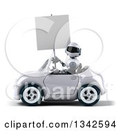 Clipart Of A 3d White And Blue Robot Holding A Blank Sign And Driving A White Convertible Car To The Left Royalty Free Illustration