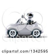 Clipart Of A 3d White And Blue Robot Giving A Thumb Up And Driving A White Convertible Car To The Left Royalty Free Illustration