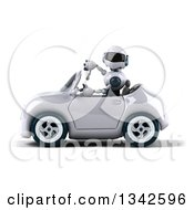 Clipart Of A 3d White And Blue Robot Giving A Thumb Down And Driving A White Convertible Car To The Left Royalty Free Illustration