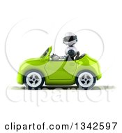 Clipart Of A 3d White And Blue Robot Driving A Green Convertible Car To The Left Royalty Free Illustration